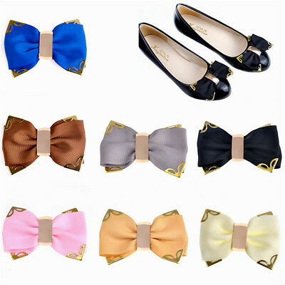 1 Pair Women Bow Bowknot Metal Shoe Clips Glue Buckle Removable Elegant Charm