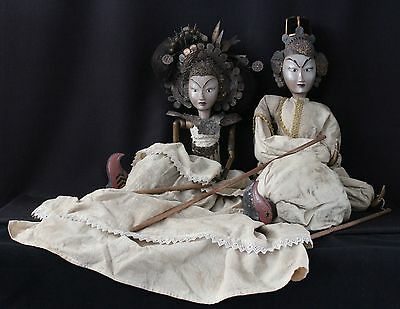 2x antique Indonesian Wayang Golek puppet Loro Blonyo bridal couple, gold jewels