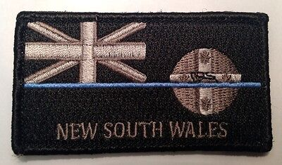 NSW Thin Blue Line, Police Patch, Law Enforcement, State Flag, Hook Rear, TBL