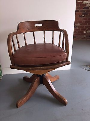 Antique Vintage Style Office Leather Swivel Captains Desk Chair