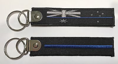 Thin Blue Line, Aust Flag, Police, Law Enforcement, TBL, Keyring, 1 x Item