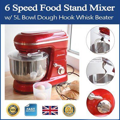 6 Speed Food Stand Mixer w/ 5L Bowl Dough Hook Whisk Beater Splash Guard Red New