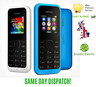 New Nokia 105-BLACK CYAN SIM (Unlocked) Dust Free Mobile Phone Cheap Basic