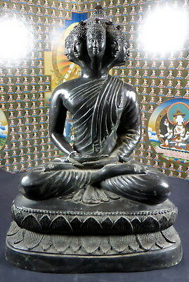 ANTIQUE LARGE BRONZE 9 FACED BUDDHA STATUE PHRA SETTHI NAWAGOT. 15 inches tall.