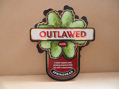 Springhead Outlawed Ale Beer bar Pump Clip collectable