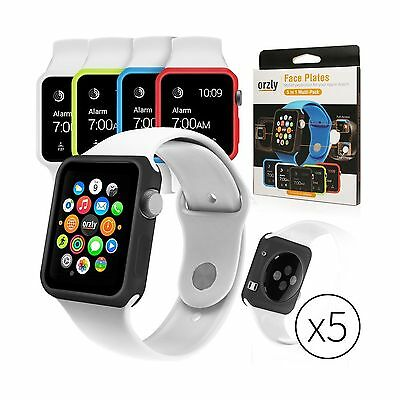Orzly Interchangeable Silicon Gel Covers for Apple Watch (38 mm) - Pack of 5 ...