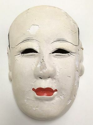 Antique Wooden Carved Japanese NOH Otoko Mask Style Great Expression