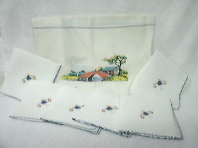 Vtg Chinese Design Hand Embroidered -Linen Tablecloth-6 napkins--Square-Unused