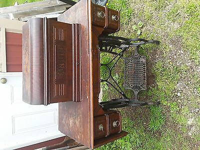 Antique Davis Vertical Feed Treadle Sewing Machine with Cabinet Contents