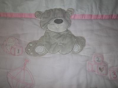 Mothercare Pink Grey Teddy Bear Baby Loved So Much Cot Quilt Duvet Blanket