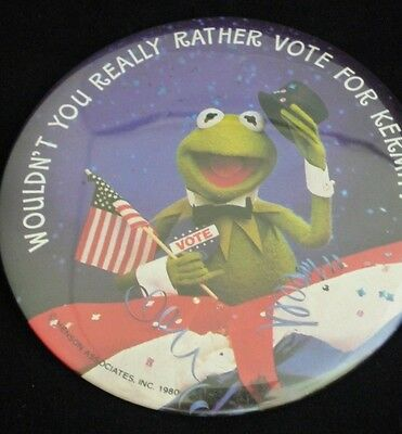 "Vintage MUPPETS KERMIT THE FROG Vote For President 3.5"" Pinback Button"