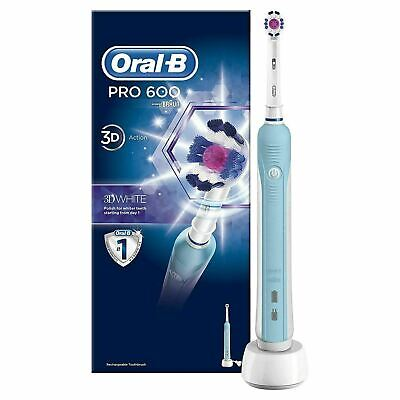 Oral-B Pro 600 White and Clean Electric Rechargeable Toothbrush Powered by Braun