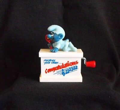 """Smurf Music Box ~ Blue Baby """"Congratulations"""" ~ Schleich ~ Made in Germany ~1981"""