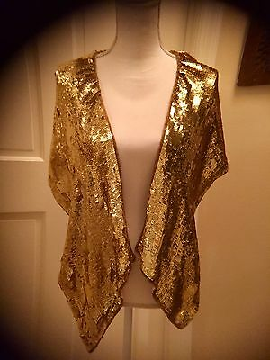 Vintage Art Deco Style Gold Sequin Beaded Shawl Shrug Collar Cape Capelet
