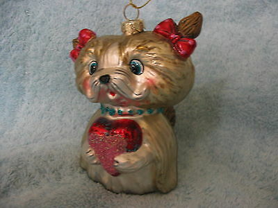 Kitty Cat w Jeweled Collar Glass Ornament - Red Hair Bows and Glitter Heart