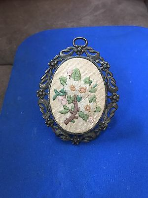 Vintage/antique Small Ornate Oval Frame W Embroidered Flowers-Stand Or Hang
