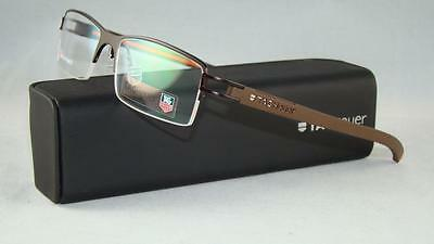 TAG HEUER TH 7621 009 Matte Brown Half Rim Glasses Eyeglasses Frames Size 53