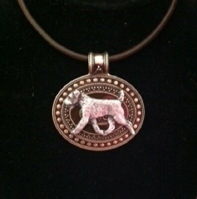 Jack Russell Terrier Dog Brass Medallion on leather cord~necklace JRT/Parsons