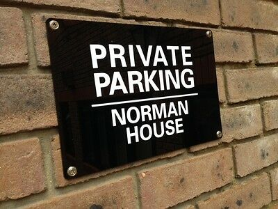 PERSONALISED ACRYLIC PRIVATE NO PARKING KEEP CLEAR SIGN WEATHERPROOF - 4 x Sizes
