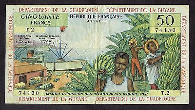 French Antilles Fifty Francs Banknote 50 Francs Note A295