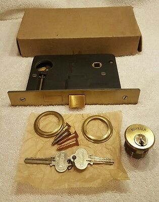 Antique Norwalk  Door Lock With Flat Brass Faceplate & 2 Keys     NEW IN BOX