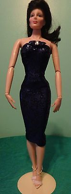 "Indigo Blue & Black Stretchy Gown for 19"" CED Tonner American Model CTBD13"