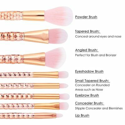 8Pcs Rosegold Make-up Brushes Face Powder Blusher Foundation Kabuki Contour UK