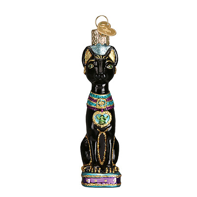 """""""Egyptian Cat"""" (12443) Old World Christmas Glass Ornament w/OWC Box"""