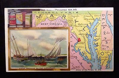 {BJ STAMPS} ARBUCKLES' Coffee Advertising Trade Card MARYLAND Oyster Dredging