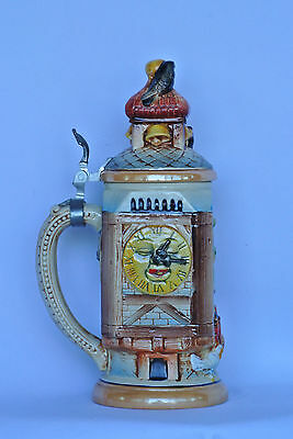 Vintage Stein | Hand Painted square relief | Clock tower w/ Face | Chickens