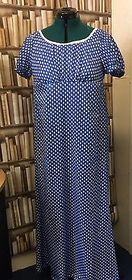 Regency Inspired Blue Cotton Gown