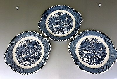 Currier & Ives By Royal Tab Handled Cake Plate The Rocky Mountains 10.5 Inch