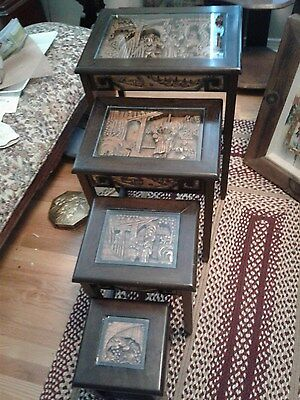 VINTAGE CHINESE NESTING/STACKING TABLES set of 4