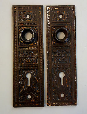 Matching Pair Antique Victorian Ornate Door Back Plates