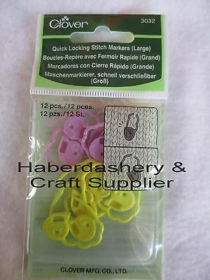 Clover Yarn Quick Locking Stitch Markers Large 12 Pcs 3032