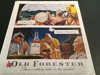 1954 Old Forester Whisky Sea Fishing Great day Boat Theme Vintage  Mag Print AD