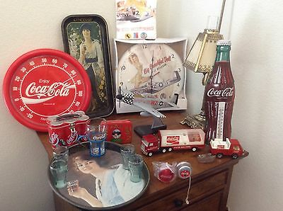 Lot of Coca Cola Antiques i2thermometers, 2 tonka toys,p51 plane & clock ,tshirt