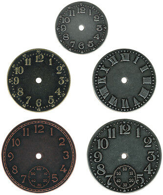 """Ology Timepieces Clock Faces 1.25"""" To 1.75"""" 5/Pkg-Antique Nickel, Brass & Copper"""