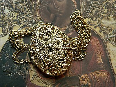 Vintage Art Nouveau Style Locket Pendant Necklace W/Our Lady of the Rosary