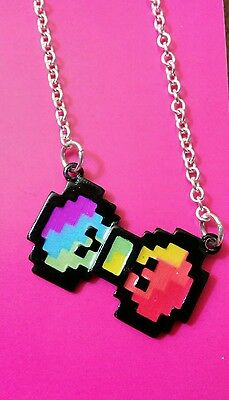 Fashion necklace,jewelry,for girls, Justice pixelated, rainbow,bow charm, NWT