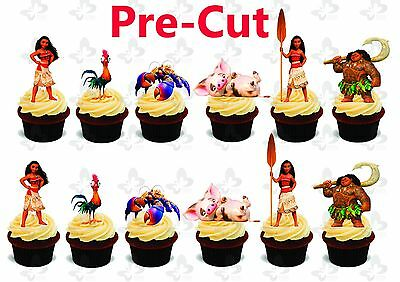 12 Moana Large Stand Up Edible Wafer Thick Card cupcake toppers PRE CUT