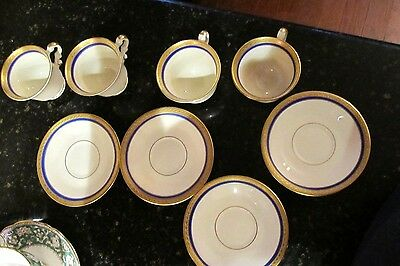 Vintage Syracuse China 'Wayne' Set of 4 Espresso, Demi Cups, Saucers, Gold, Blue