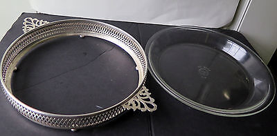 Vtg. CRESCENT SILVERWARE MFG CO. Port Jervis,NY Silver Plate Cradle Pyrex Server