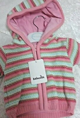 Kaboosh  warm knitted double lined baby girl jacket with hood  NB winter w/zip