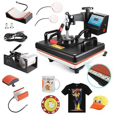5in1 Heat Press Machine Digital Transfer Sublimation T-Shirt Mug Hat Plate E8