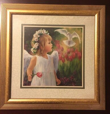 Home Interiors '' Angel with White Dove'' Picture free shipping made in USA obo