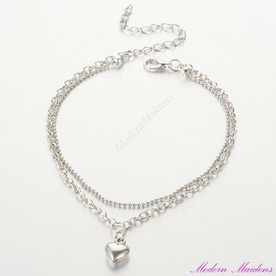 Dainty Silver Tone Double Strand Heart Anklet 23cm