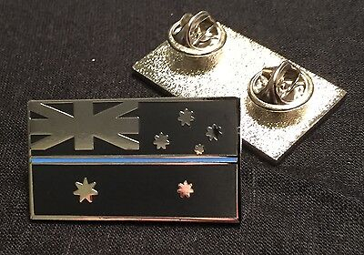 Police Flag Pin, Thin Blue Line, Australia, TBL, Law Enforcement, Black