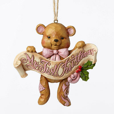 Jim Shore Baby's First Christmas Pink Bear