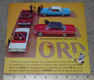 1963 FORD Car Dealer NOS Sales Brochure Catalog FALCON FAIRLANE T-BIRD GALAXIE